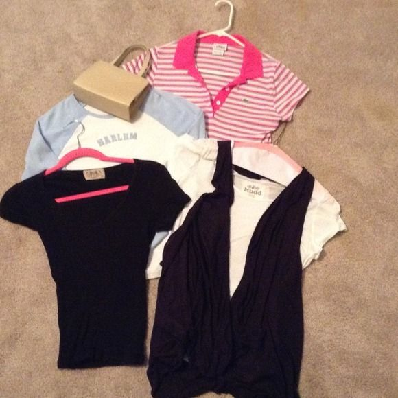 4 shirts! Great price Kenneth Cole purse, Lacoste SALE! For all in this pic ! 30.00 great Deal! Hurry, hurry ! Lacoste Tops