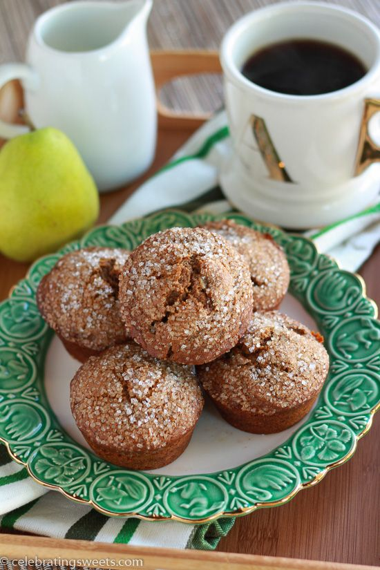 Gingerbread Pear Muffins - Moist gingerbread muffins, filled with warm spices, rich molasses and fresh pear.
