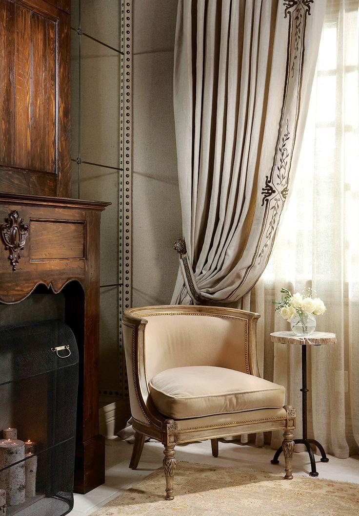 nailing braid detail to walls draped curtain mirror walling