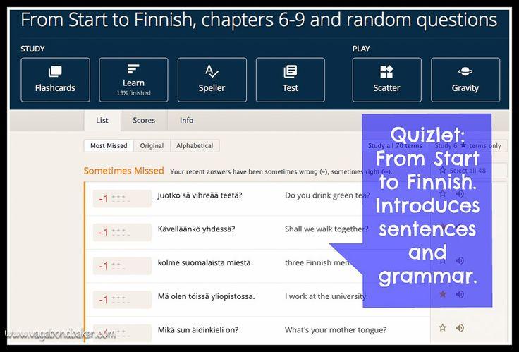 Learning Finnish Quizlet