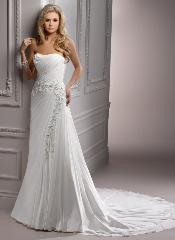 Sheath Strapless Beaded Lace Applique Ruched Bodice Chiffon Wedding Dress Ws0061 21995