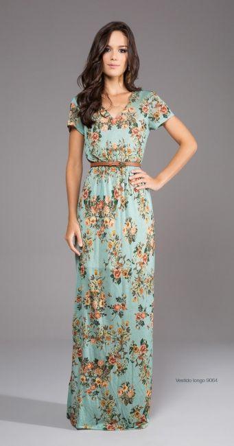 Floral short sleeved maxi