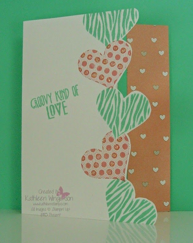 """Quick and easy Valentine Card made with the Groovy Love stamp set from Stampin Up using the """"masking"""" technique by Kathleen Wingerson  www.kathleenstamps.com"""