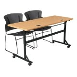 "Economy Flipper Training Table Width: 72"", Color: Teak (Office Product)"