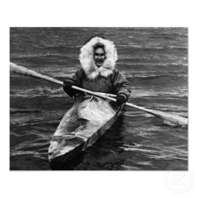 Eskimos and Inuits used kayaks (a small one man boat made with a stretched sealskin) to hunt.