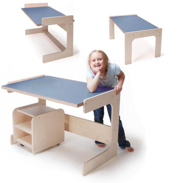 Beistelltische - Lino. Schreibtisch für Kinder/delfter blau - ein Designerstück von albo-products bei DaWanda