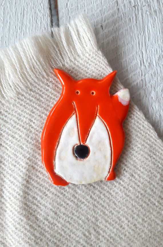 Fox shaped Brooch, ceramic jewellery, handmade fox, Ceramic fox, handmade…
