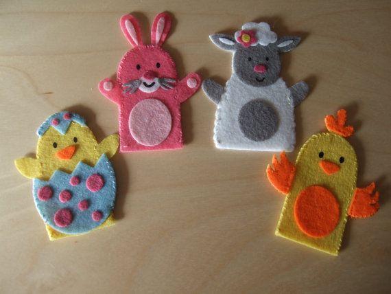 Felt Finger Puppets Spring Animals. Rabbit Baby by MakeStitchKnit, $18.50