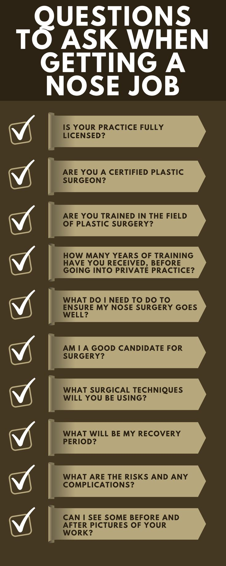 There are various questions in the patient's mind when they get a nose job done. Look at this infographic and read the important questions which you can ask your #Nose #job #surgeon.