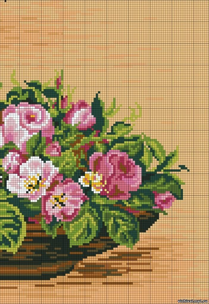 ♥ My point Graphs Cruz ♥: Frame: Roses arrangement in Cross Stitch