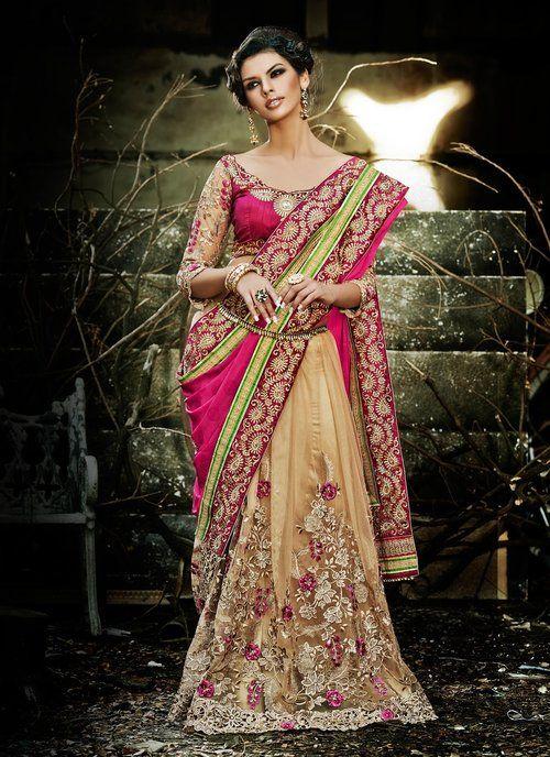 Butta Beige & Pink Embroidered Saree