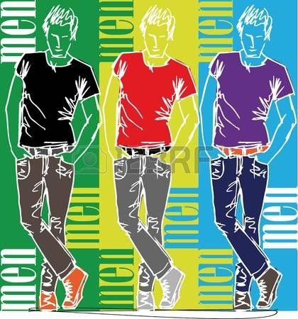 t-shirt%3A+Schets+van+de+mode+knappe+man.+Vector+illustratie