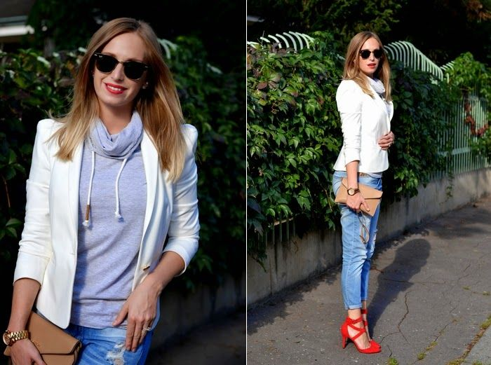 Style Cookbook: outfit | boyfriend jeans , grey and nude, red shoes, white blazer, ray-ban
