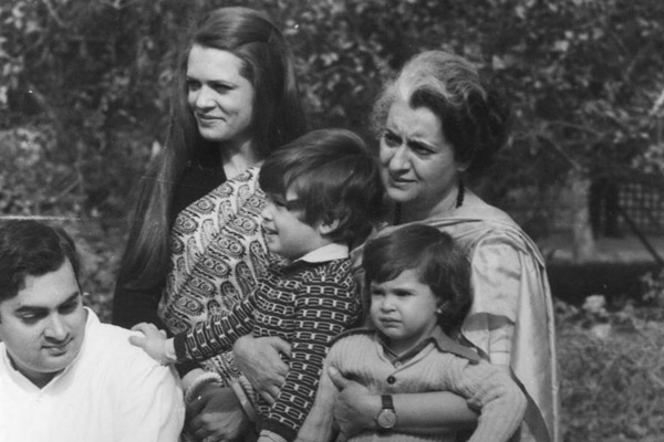 Former Prime Minister Indira Gandhi with her son Rajiv Gandhi, daughter-in-law Sonia Gandhi and grandchildren Rahul Gandhi and Priyanka Gandhi. Express archive photo
