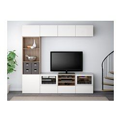 "BESTÅ TV storage combination/glass doors - walnut effect light gray/Selsviken high gloss/white clear glass, 94 1/2x15 3/4x90 1/2 "", drawer runner, push-open - IKEA"