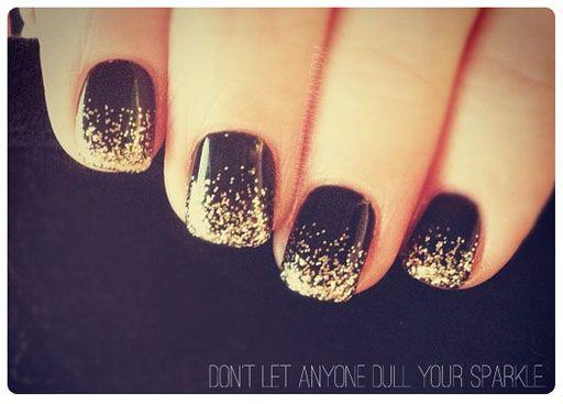 2013 New Year's Nail Art | Capodanno 2013 Nail Art Tutorial facile: unghie con cascata di glitter