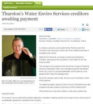 Thurston's Water Enviro Services creditors awaiting payment