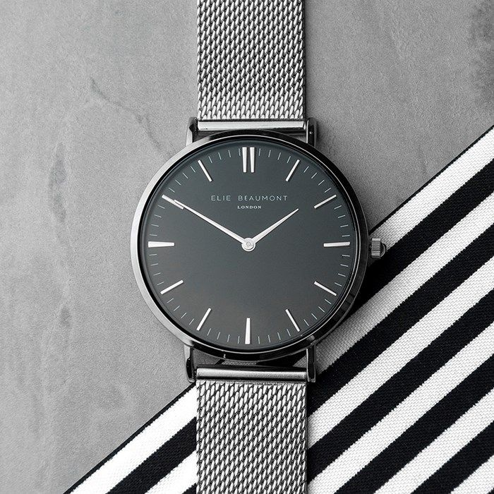 Personalised Metallic Mesh Strap Watch With Black Dial | GettingPersonal.co.uk