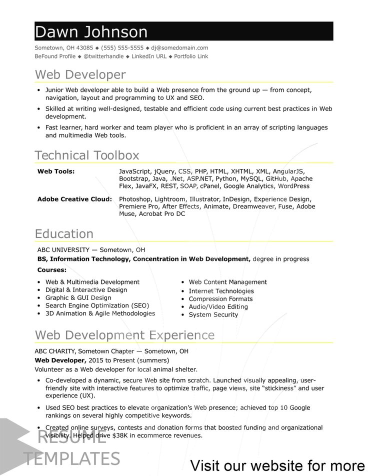resume template free no experience in 2020 Web developer