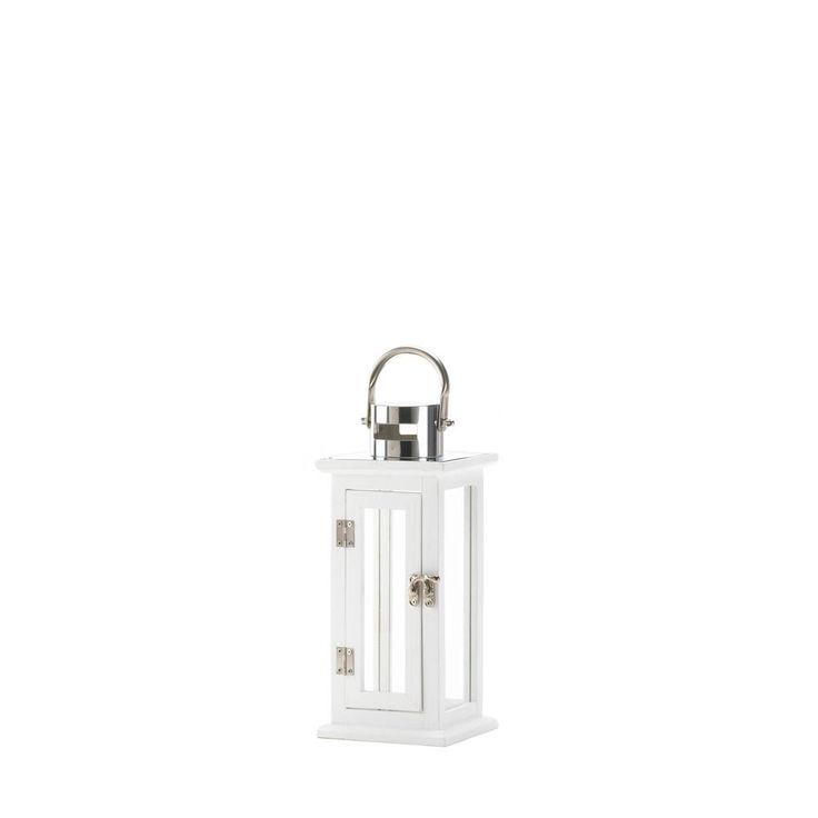 10016901 - Highland Small Candle Lantern - Wholesale. This small lantern may be short in statue but its tall in style. The wooden frame features crisp white paint, silver hardware and a stainless steel hanging loop. It will turn candlelight into a stunning show.