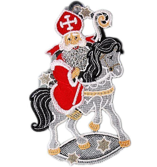 Fensterbild PLAUENER SPITZE R 15x24 Cm Saugnapf Weihnachten NIKOLAUS Pferd In Mbel Wohnen