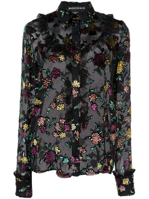 Shop Rochas embroidered blouse.