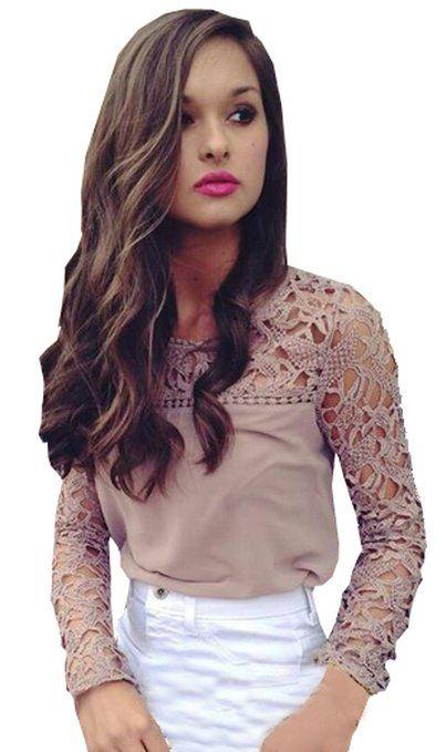 Lovaru Mujer de encaje de manga Blusas magníficas camisas