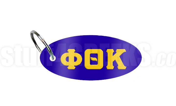 Phi Theta Kappa chain with gold Greek letters on a reflective royal blue background.