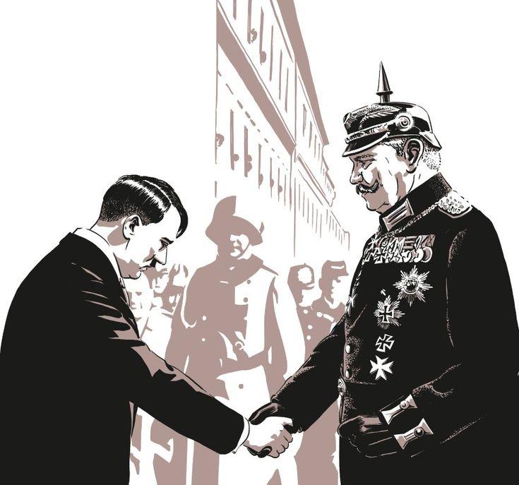 Ein Handschlag zwischen Adolf Hitler und Reichspräsident Paul von Hindenburg,...