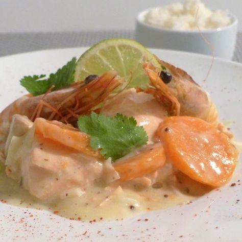 Blanquette de saumon, sauce blanche à la moutarde à l'ancienne