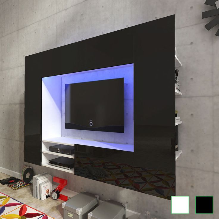 Good Black Tv Wall Cabinet Modern Gloss Media Organiser Unit Living Room  Playroom Led Part 29