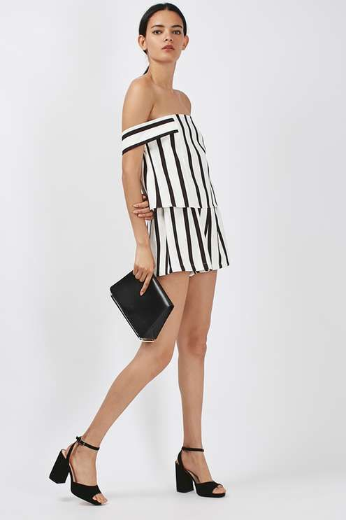 9deb326f437 Look to seasonal stripes in this cute playsuit. Featuring the on-trend  bardot cut and a structured fit