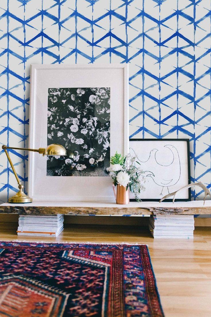Shibori indigo removable wallpaper blue and white wall