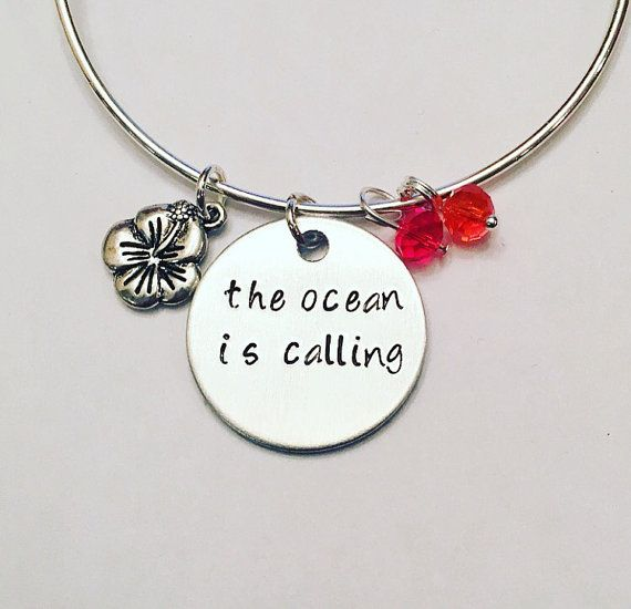 The Ocean is Calling Moana Maui Disney Inspired Stamped Adjustable Bangle Charm Bracelet #disney #moana #moanamaialiki #maui #polynesianprincess #disneyprincess #disneyinspired #stamped #adjustablebangle #charmbracelet