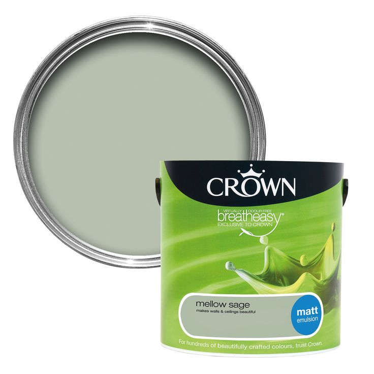 Crown Breatheasy® Mellow Sage Matt Emulsion Paint 2.5L | Departments | DIY at…