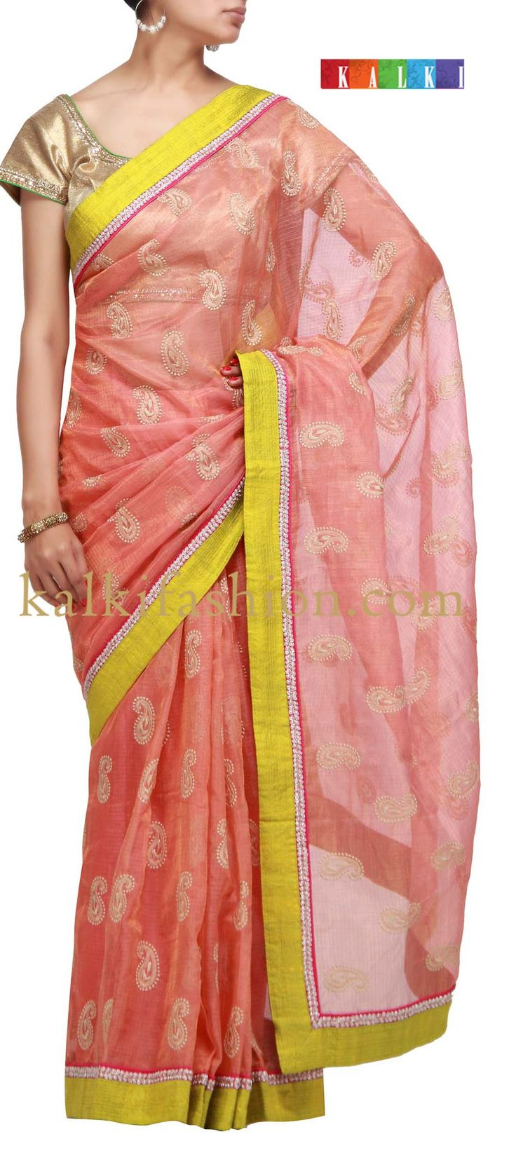 Buy it now http://www.kalkifashion.com/peach-saree-in-jute-silk-with-resham-embroidery.html Peach saree in jute silk with resham embroidery