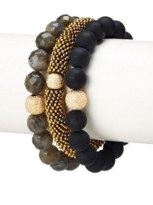 63% OFF Sisco + Berluti Labradorite, Golden & Black Onyx Bracelet Stack