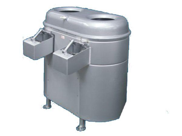 Αποφλοιωτική μηχανή OZP 15 Χωρητικότητα κάδου 2Χ 10 - 15 κιλά ανά φόρτωση. Απόδοση 800 - 1000kg/h Ισχύς μοτέρ μειωτήρα 550W 380V Διαστάσεις 960Χ715Χ990mm