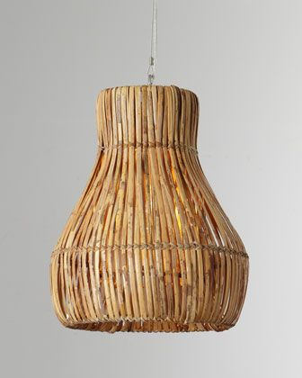 Rattan Woven Hanging Lamp at Horchow.  Great lamp....add a couple over GEOS Reycled Glass kitchen island in Rincon.. these will add some dimension,  texture....awesome!