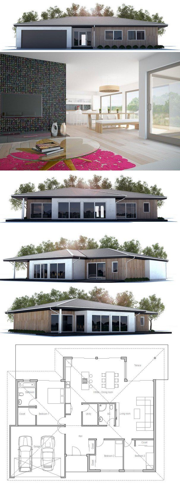 Modern Architecture, House Design with three bedrooms. Floor Plan from ConceptHome.com