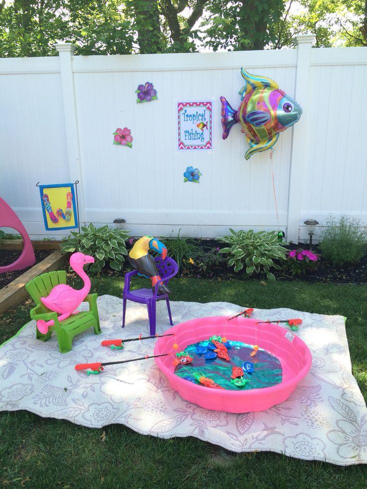 Tropical Fishing Station Pool party kids, Backyard