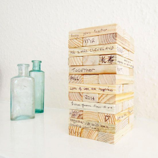 Make your very own guestbook from a blank Jenga set!