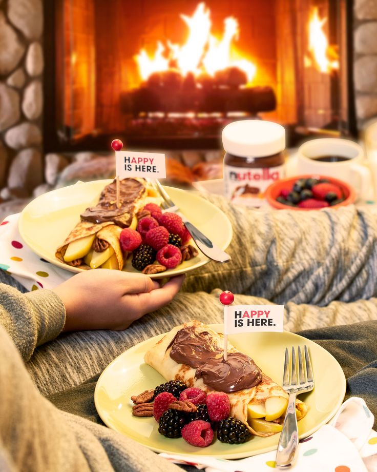Ingredients to a perfect Autumn breakfast:   Billowing fire Comfy pajamas Homemade crepes Nutella®  Great company  Combine and enjoy.