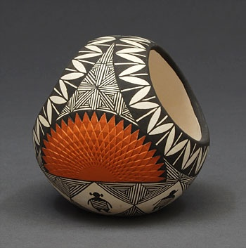 Small Fine Line Geometric Vase by Adrienne Roy Keene (Acoma). Adrienne Roy Keene was born in 1956 and has been active making pottery since the 1970's. She is known for her Mimbres and Anasazi Revival black on white and polychrome designs.