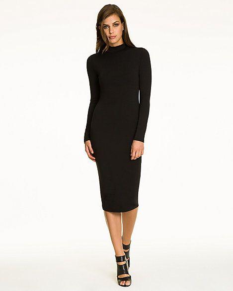 Jersey Turtleneck Midi Dress