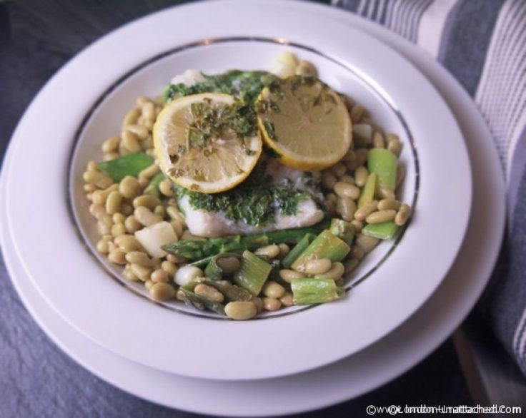 cod with lemon and flageolet beans