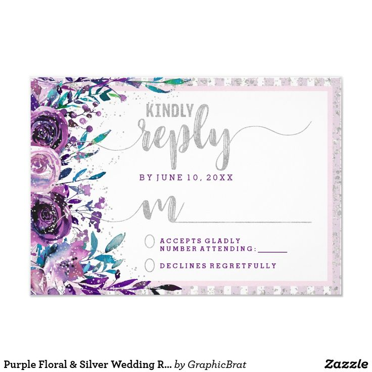 Purple Floral & Silver Wedding Reply RSVP Card Purple Floral & Faux Silver Glitter Stripes & Confetti Watercolor Floral wedding RSVP Reply cards with With trendy brush script font! ~ Check my shop to see the entire wedding suite for this design!