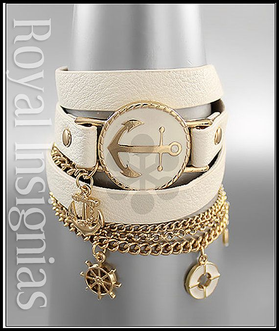 Nautical leather wrap anchor bracelet stack monogram spring 2014 by Royalinsignias, $16.50