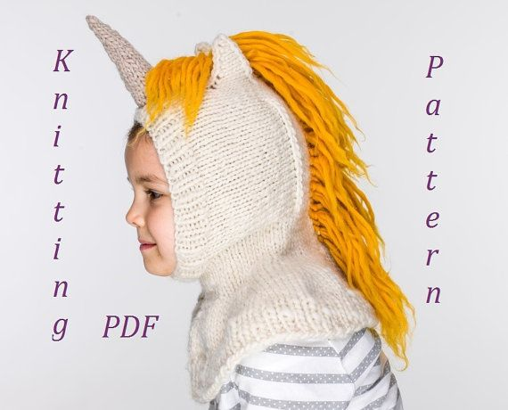 Knit Unicorn Hat Pattern : New pdf unicorn balaclava hat and mittens knitting pattern