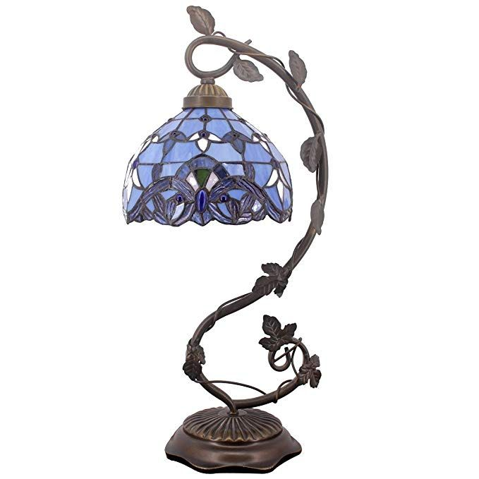 Tiffany Desk Lamp Lavender Stained Glass Table Light Blue Purple Baroque Style W8 H22 Inch For Living Room Bedroom D Lamp Stained Glass Table Lamps Glass Table
